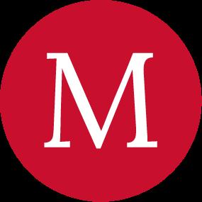 M logo Red circle with white M